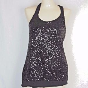 Express size S Black Mesh Sequin Front Top